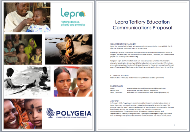 Front pages of Lepra-Polygeia strategy commission. Reproduced with permission of A Bow-Bertrand.